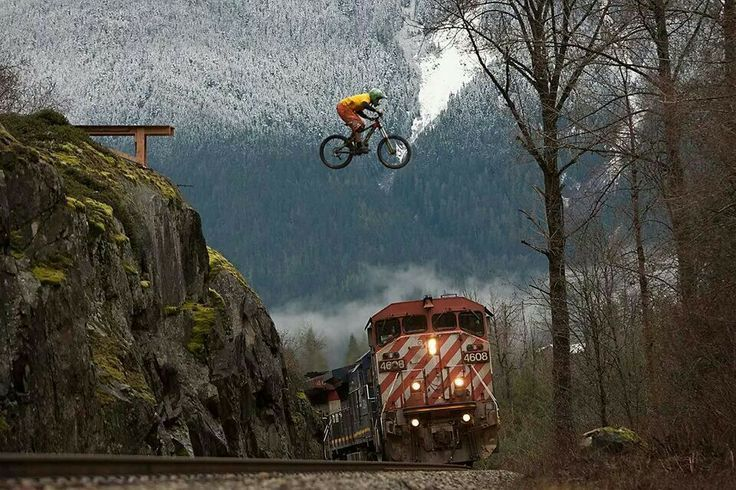 Afbeeldingsresultaat voor downhill jump over train Follow for follow, pin for pin!