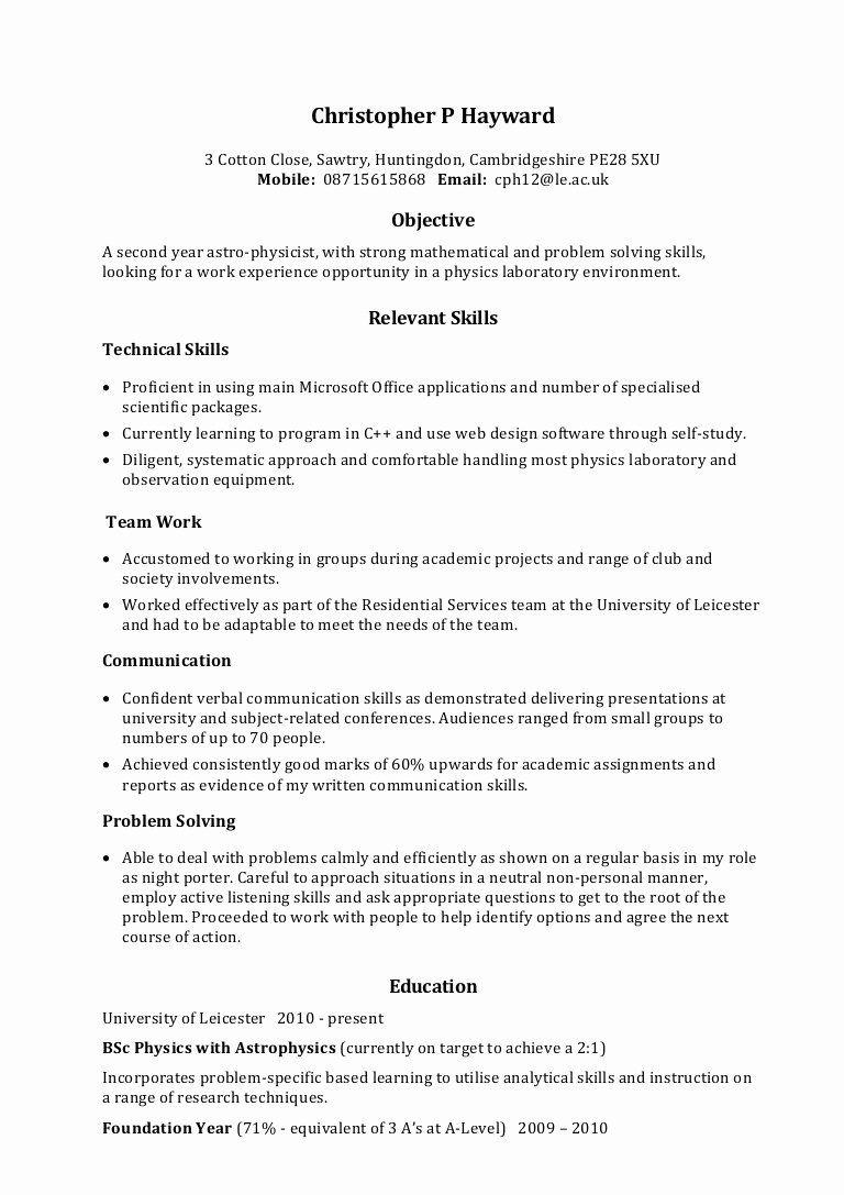 Skills Based Resume Template Free Unique Example Skills Based Cv