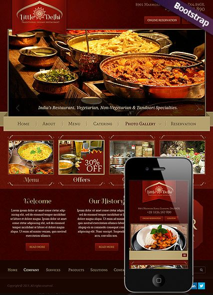 Indian Restaurant Bootstrap Template Id 300111689 Restaurant Website Templates Restaurant Website Food Menu Design