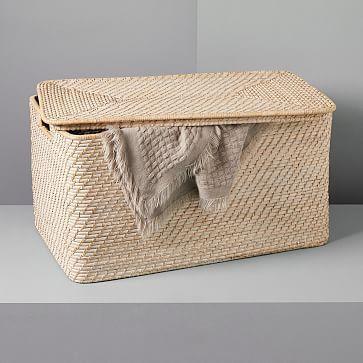 Modern Weave Lidded Storage Basket Whitewashed Storage Baskets Lid Storage Woven Baskets Storage
