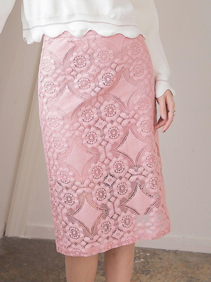 #AdoreWe #StyleWe APHROO Pink Floral Elegant Lace Pierced Midi Skirt - AdoreWe.com