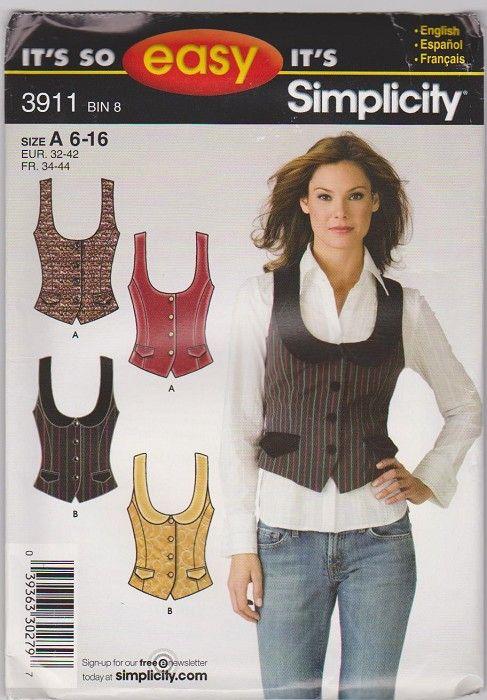women vest patterns | Simplicity Pattern 3911 Womens vest Size 6-16