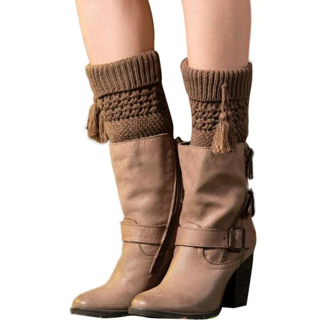 AMA(TM) Women Tassel Knitted Cuffs Winter Leg Warmers Socks Boot Cover (Coffee). Material:Acrylic fibres. Size:approx 16cm+4.5cm(Flanging). One size fit most,stretchy Soft and fashionable. Very comfortable Stretch Fabric,a perfect gift to yourself or friends. You can match them with tights, leggings, skirts, skinny jeans for a sweet cozy look.