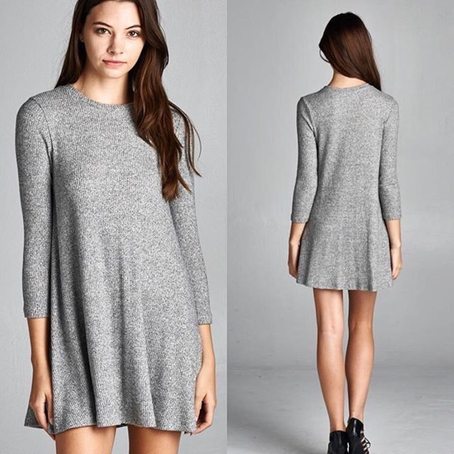 Super Soft Ribbed Grey Tunic