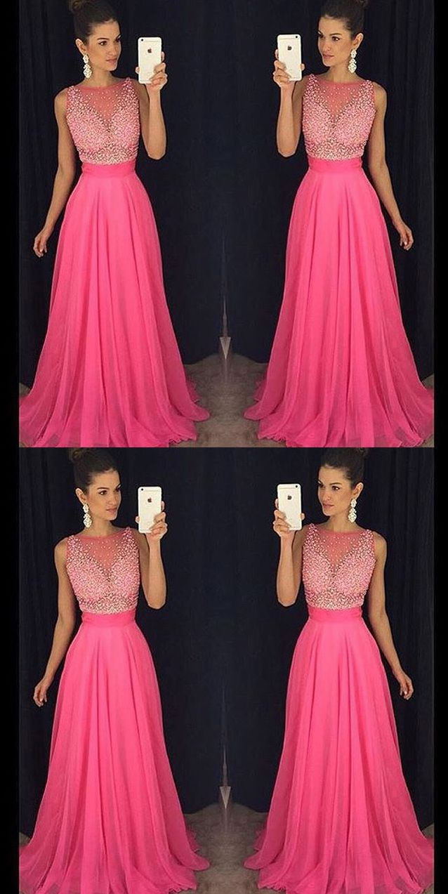 Chic a line bateau beaded long fuchsia tulle promevening dress in