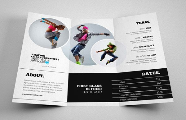 Dance studio brochure design 4 20+ Simple Yet Beautiful Brochure - studio brochure