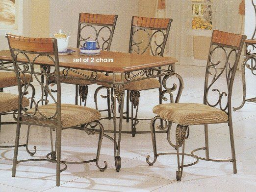 Amazon Com Set Of 2 Brown Wrought Iron Metal Formal Dining Chairs Furniture Decor Metal Dining Room Wrought Iron Furniture Wrought Iron Patio Furniture