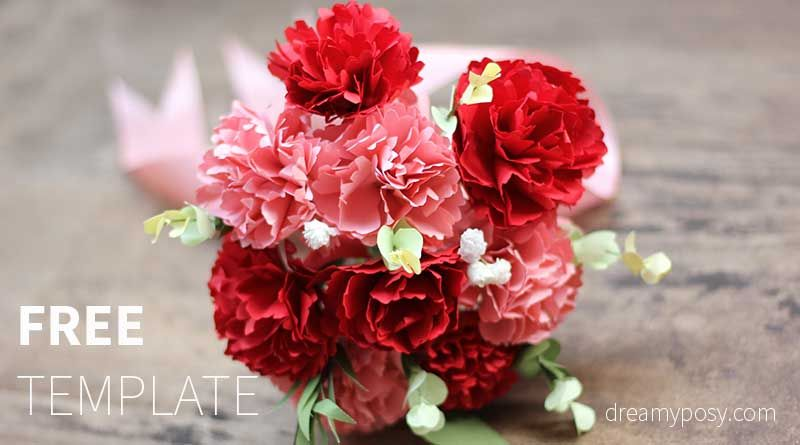How To Make Carnation Paper Flower Free Template Easy Paper