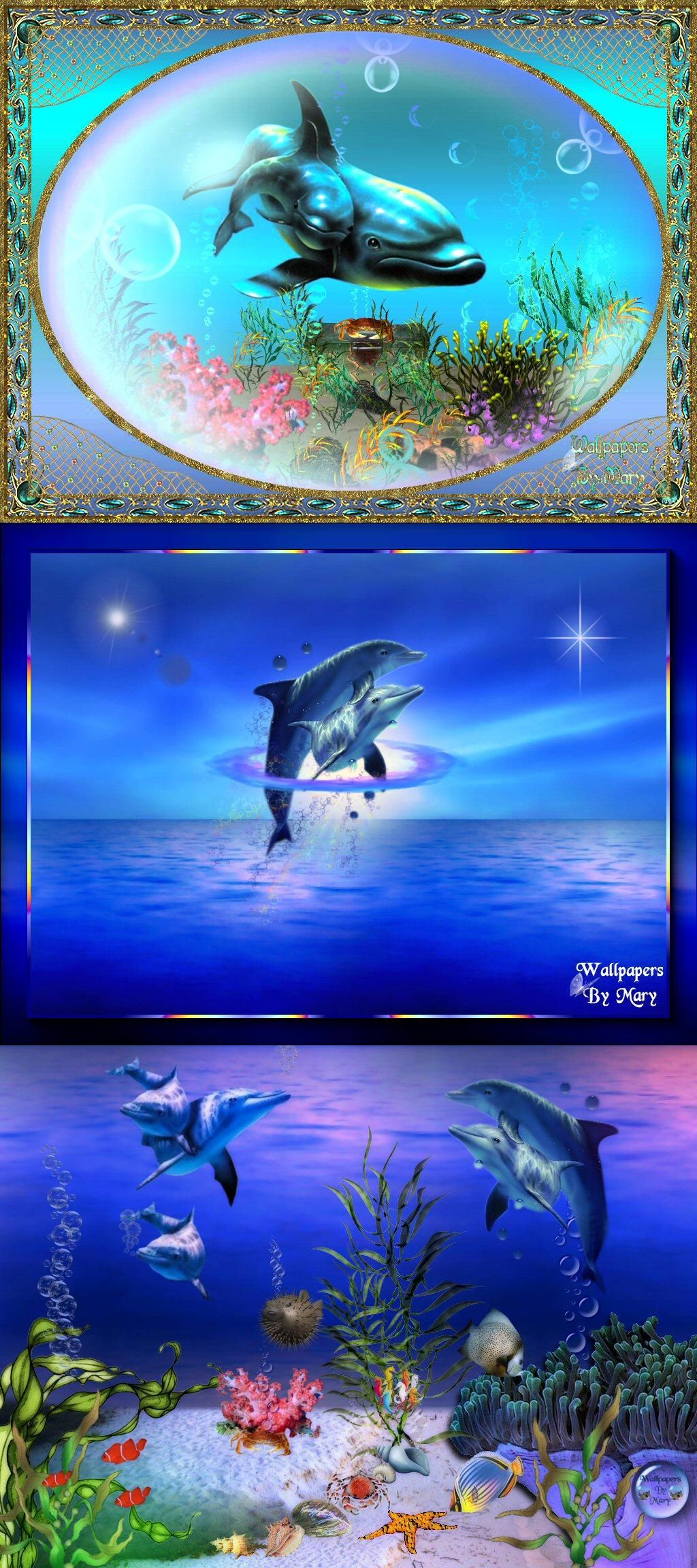 Blue Sea Dolphins Rhino pictures, Seascape artists