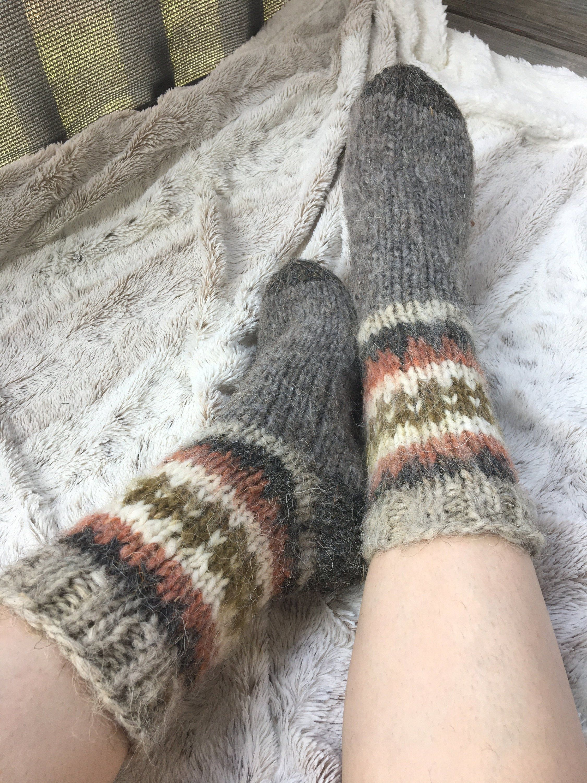 Unisex socks Knitted Sheep Wool Socks Grey socks.