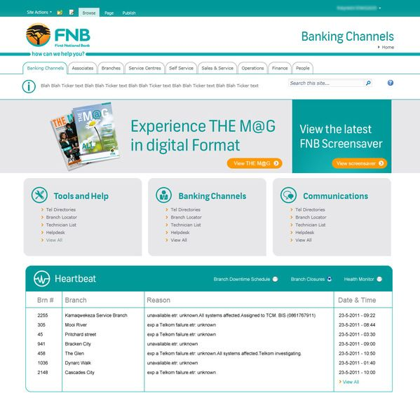 Fnb Sharepoint 2010 Themes By Riaan Botha Via Behance With Images Sharepoint Sharepoint Intranet Web Design