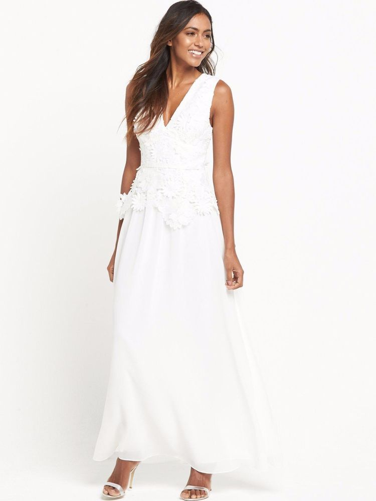 French connection floral summer white long manzoni party