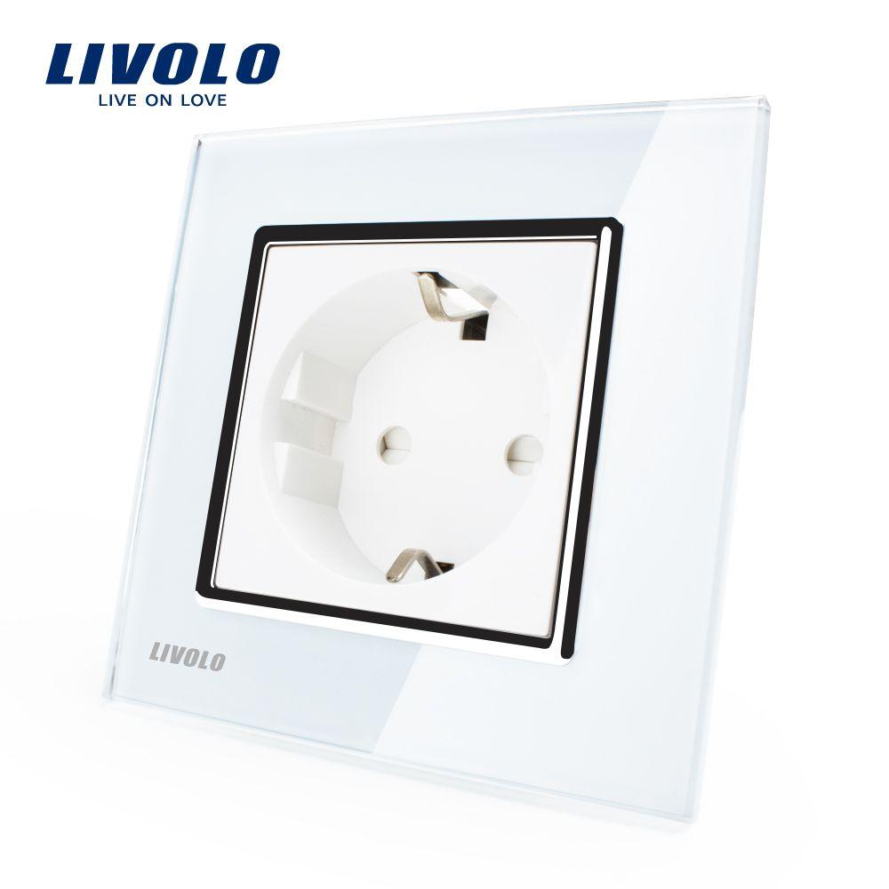 Livolo eu standard-steckdose, weiß Kristallglas-verkleidung, AC 110 ...