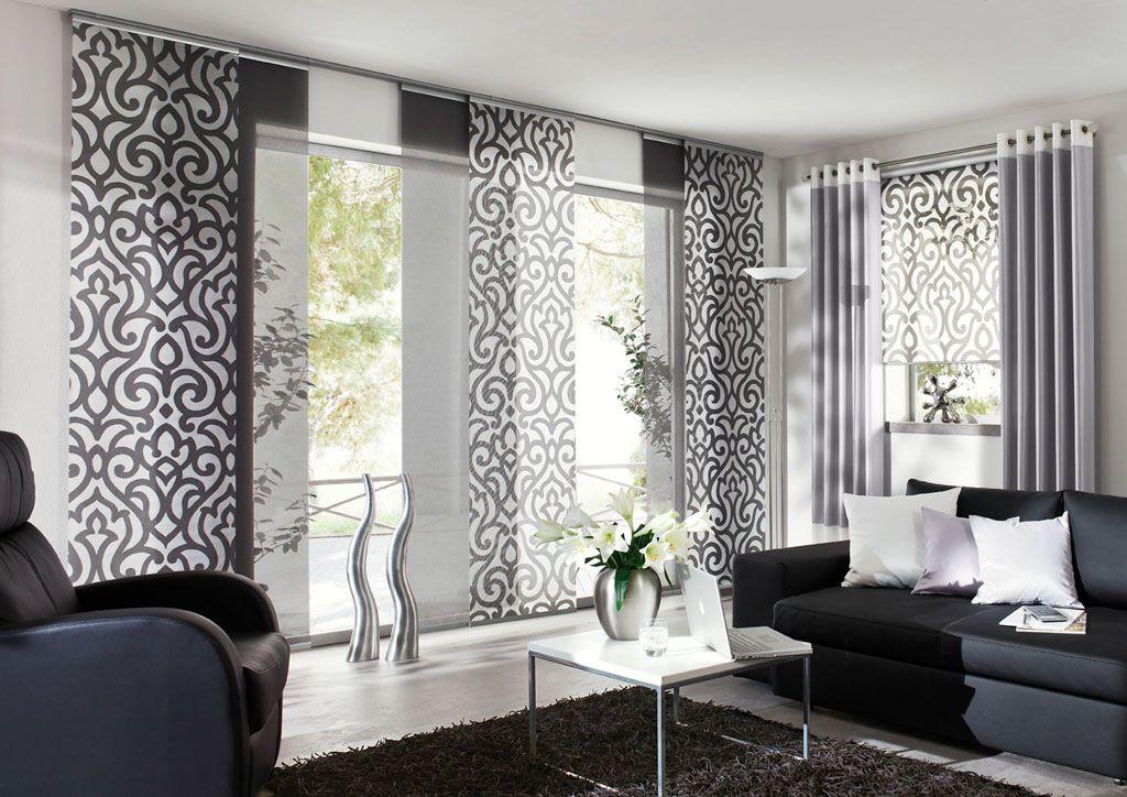 Eichenhaus Gleitpaneele Vorhang wei grau Ornamente  Vorhnge  Wohnung vorhnge Gardinen und