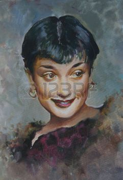 peinture à l huile: Portrait de Audrey Hepburn, actrice britannique, la peinture