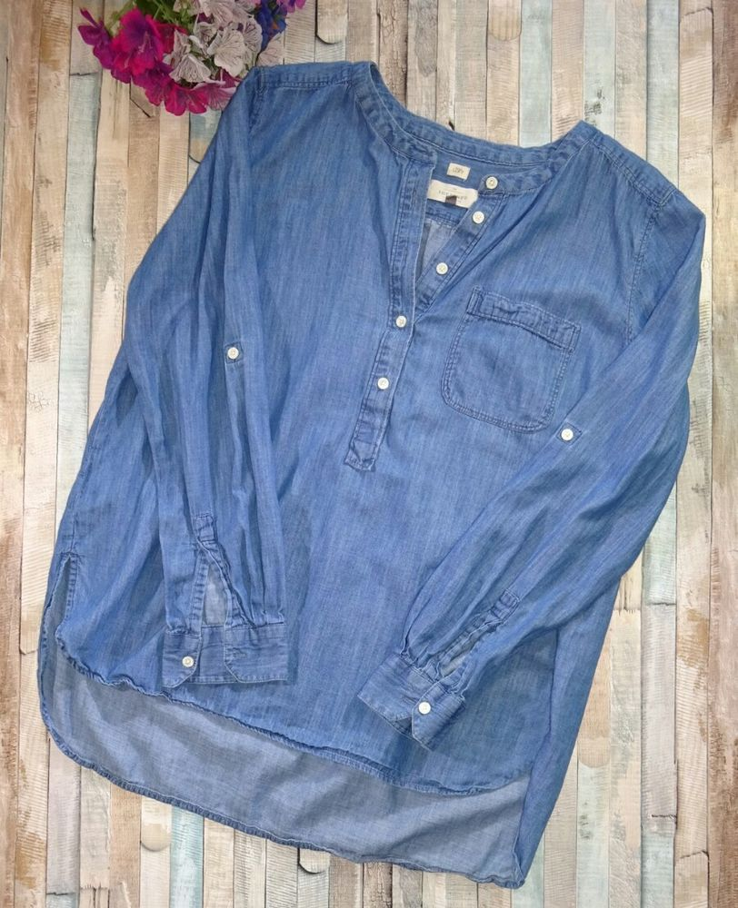 Ann Taylor LOFT Womens The Softened Shirt Chambray Tunic Blouse Blue Size Med | Clothing, Shoes & Accessories, Women's Clothing, Tops & Blouses | eBay!