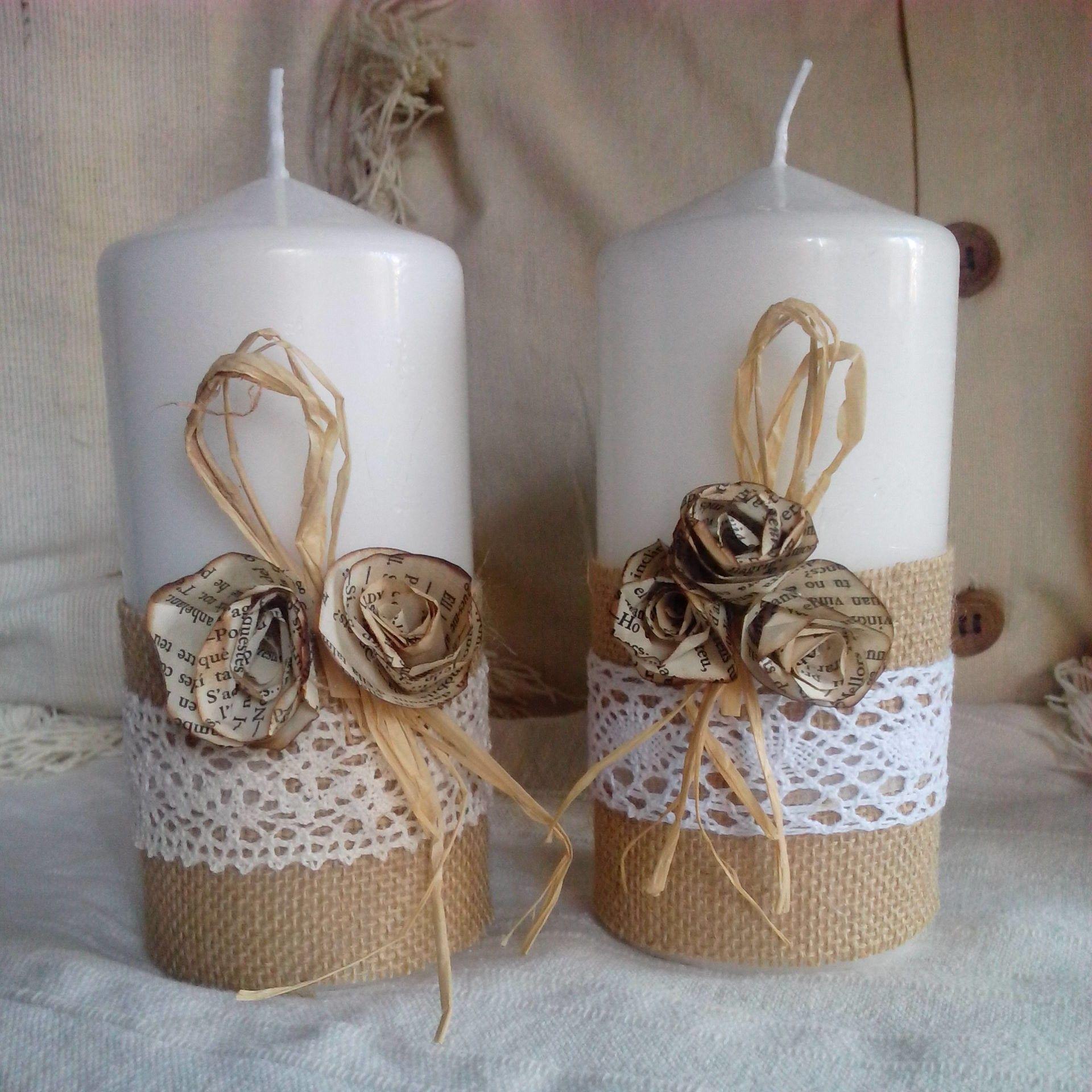 Velas juta renda e flores de papel artesanato geral pinterest flores de papel juta e - Velas decoradas para navidad ...