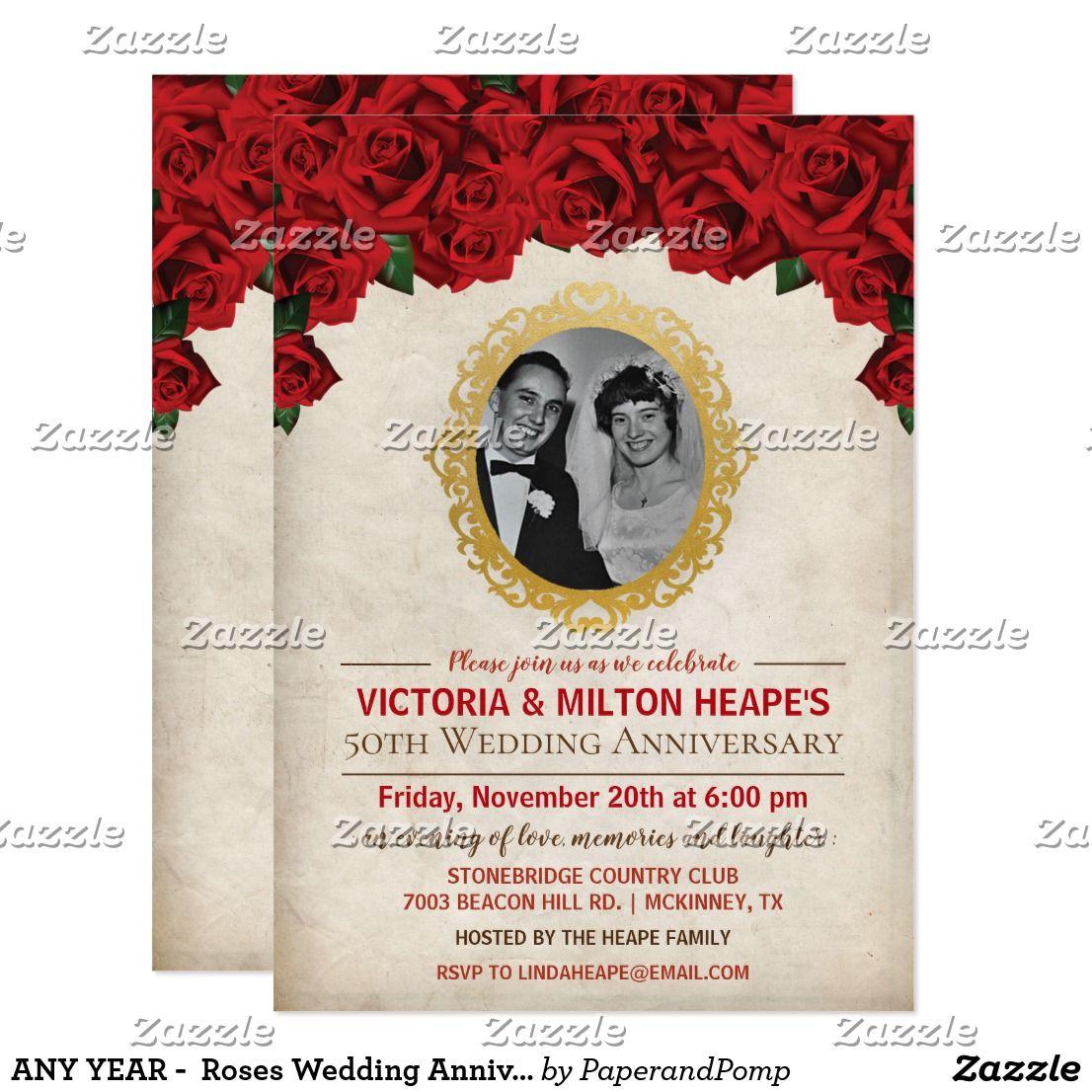 ANY YEAR - Roses Wedding Anniversary Invitation | Wedding ...