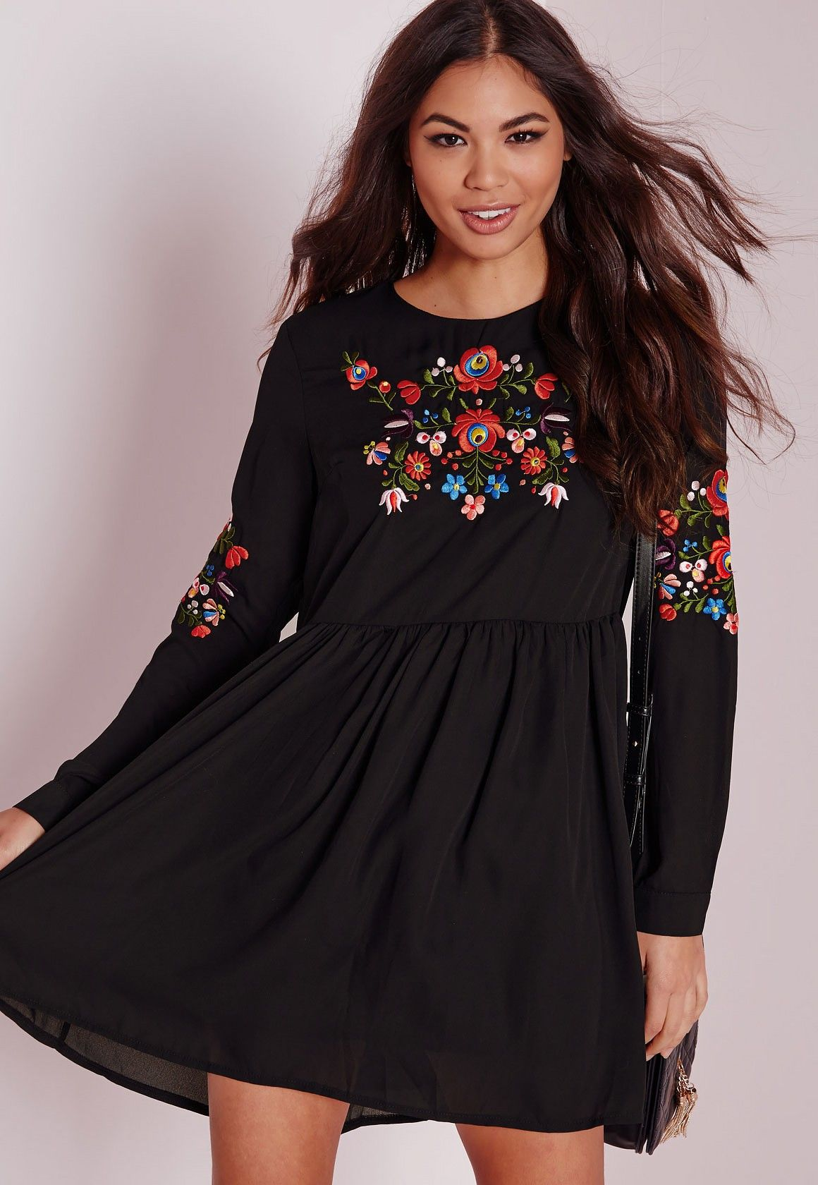 Long sleeve embroidered front u sleeve dress black dresses day