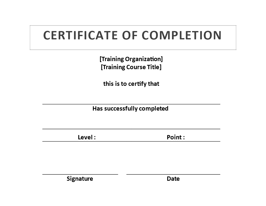 Training Certificate of Completion template Training Certificate – Certificate of Completion Training