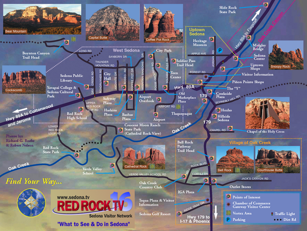 Map Of Arizona Including Jerome.Map Of Sedona Arizona Area Hiking Sedona Tourist Map Sedona