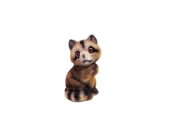 Raccoon Figurine, Flocked Plastic Animal
