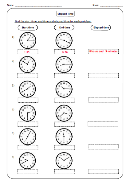 Elapsed Time Worksheets to Print for Kids | Kids Worksheets