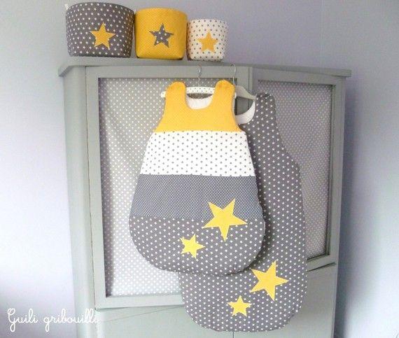 Sur commande gigoteuse toile gris jaune gigoteuse chambre b b jaune gigoteuse bebe - Chambre bebe jaune ...
