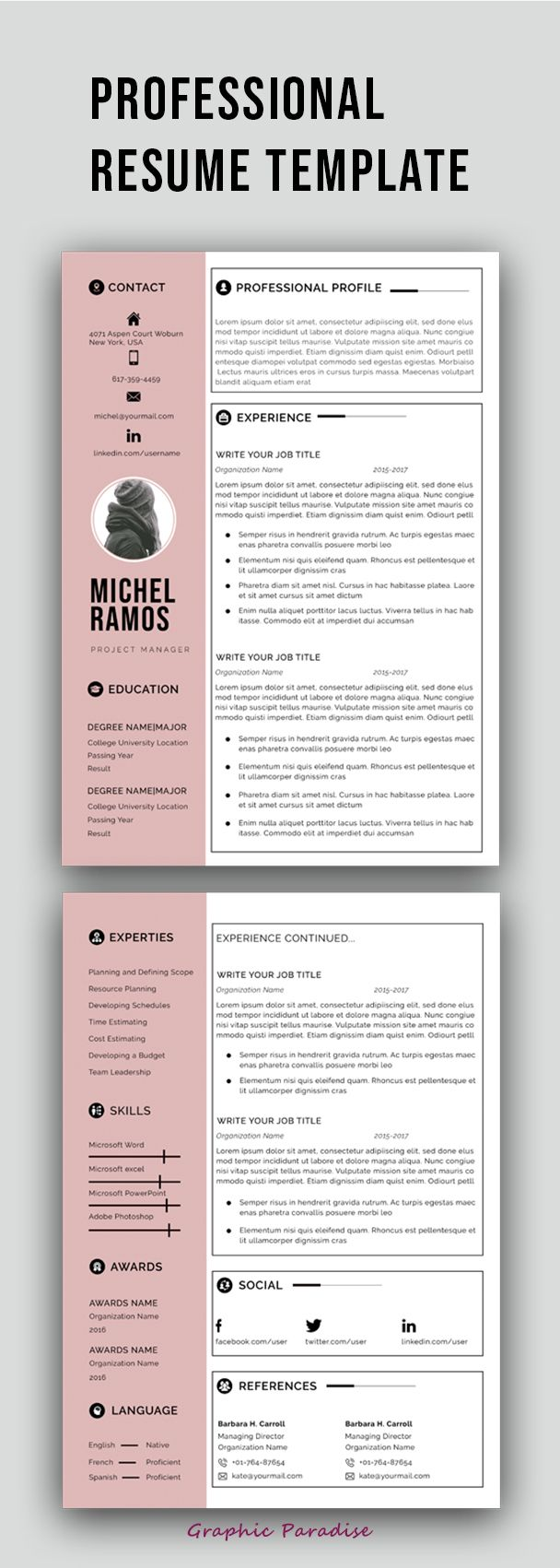 Format Letter Of Reference Stunning Professional Ms Word Resume Template Instant Download Matching .