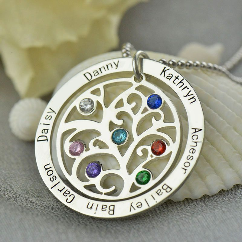 Birthstone family tree necklace personalized mom necklace engraved birthstone family tree necklace personalized mom necklace engraved our family name necklace silver nameplate jewelry aloadofball Images