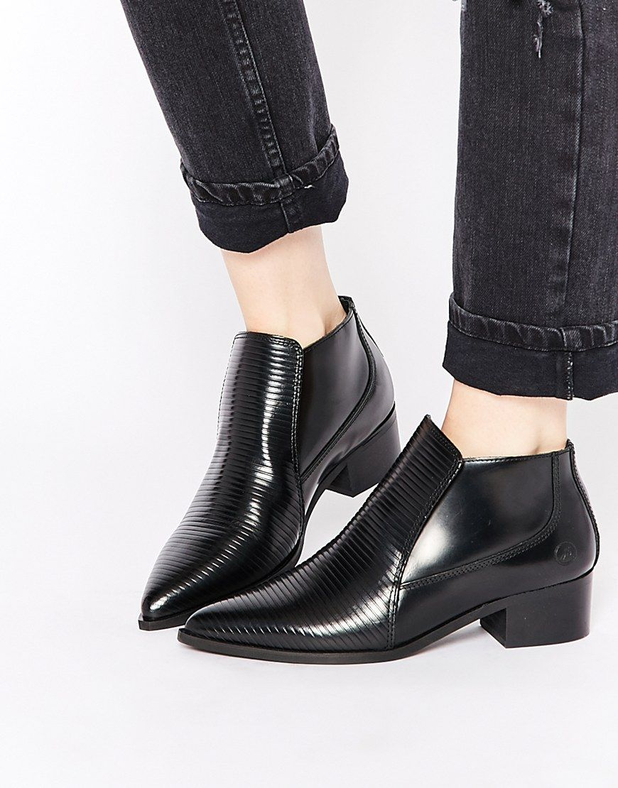 Image 1 of Bronx Stripe Patent Pointed Toe Ankle Boots