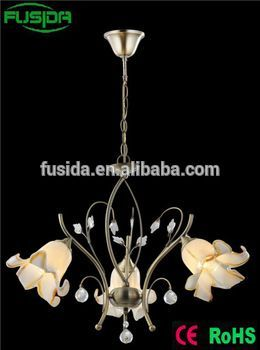 European iron holder White Chandelier Glass Lamp Shade Chandelier Flower shade Light