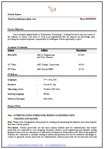 B Tech IT Resume Sample Free Download (1)  Resume Samples Free Download
