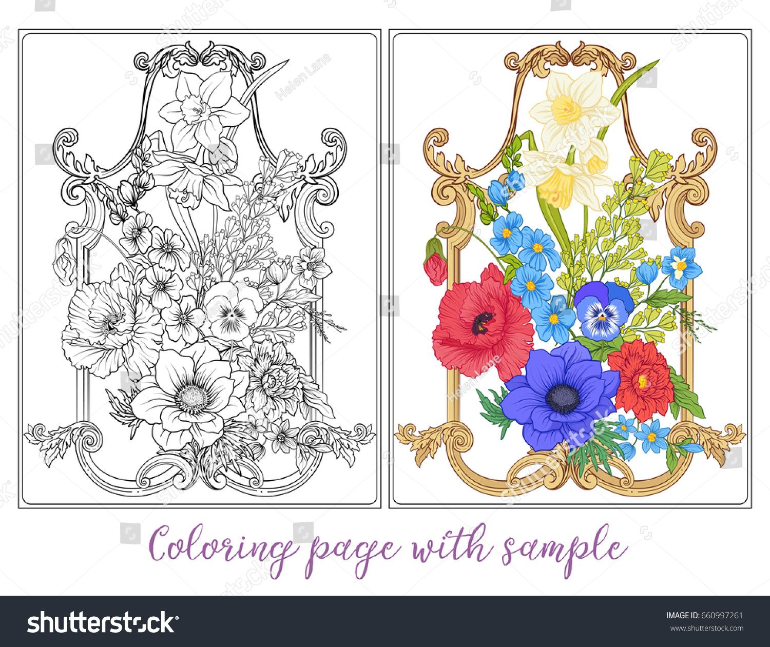 Set or outline and colored summer flowers bouquet of poppy set or outline and colored summer flowers bouquet of poppy izmirmasajfo