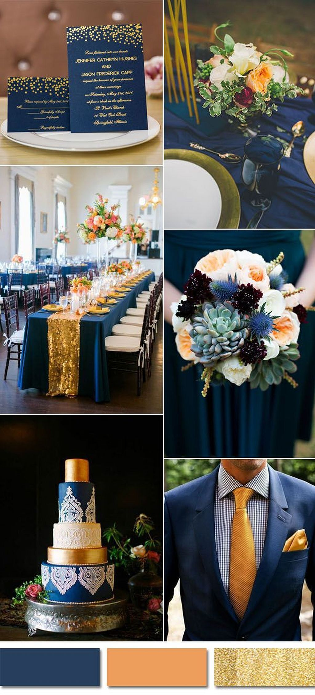 Navy blue wedding theme ideas 74  Wedding ideas  Peach wedding colors Wedding Navy blue