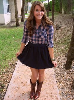 Plaid, skirt, and cowboy boots :) love! | My Style | Pinterest ...