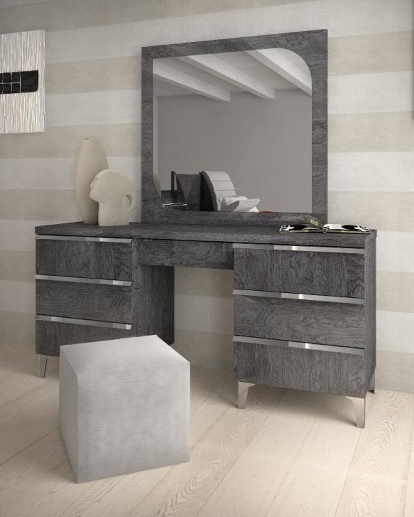 Elite Grey Birch Collection Modern Vanity Unit With Drawers Optional Mirror Modern Bedroom Furniture Mirrored Bedroom Furniture Dressing Table Design