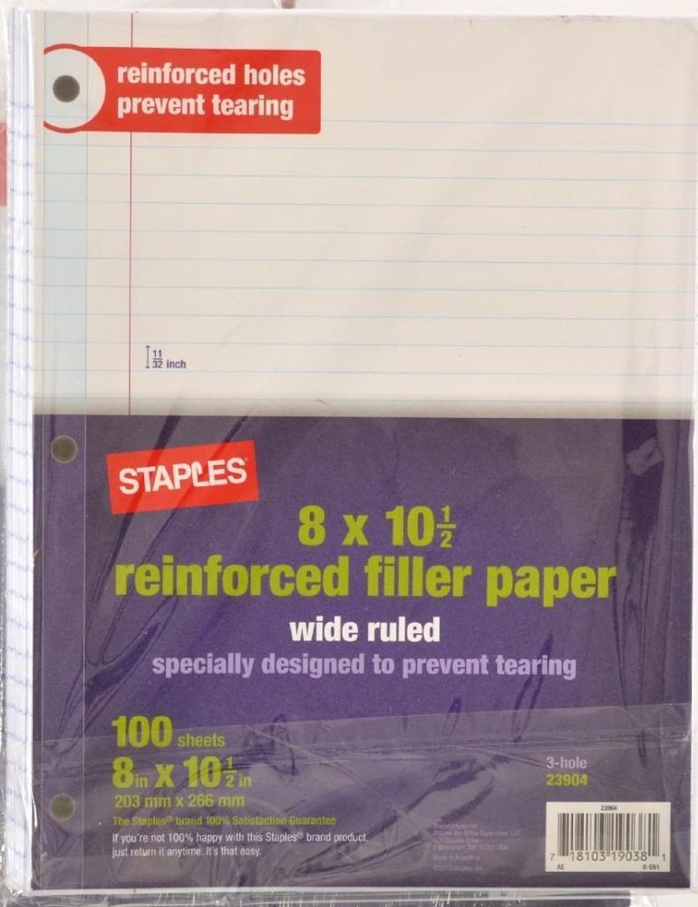 """Office 500 STAPLES Filler Paper 8"""" x 10.5"""" Wide Ruled 5 x 100 Sheets 23904 #STAPLES"""