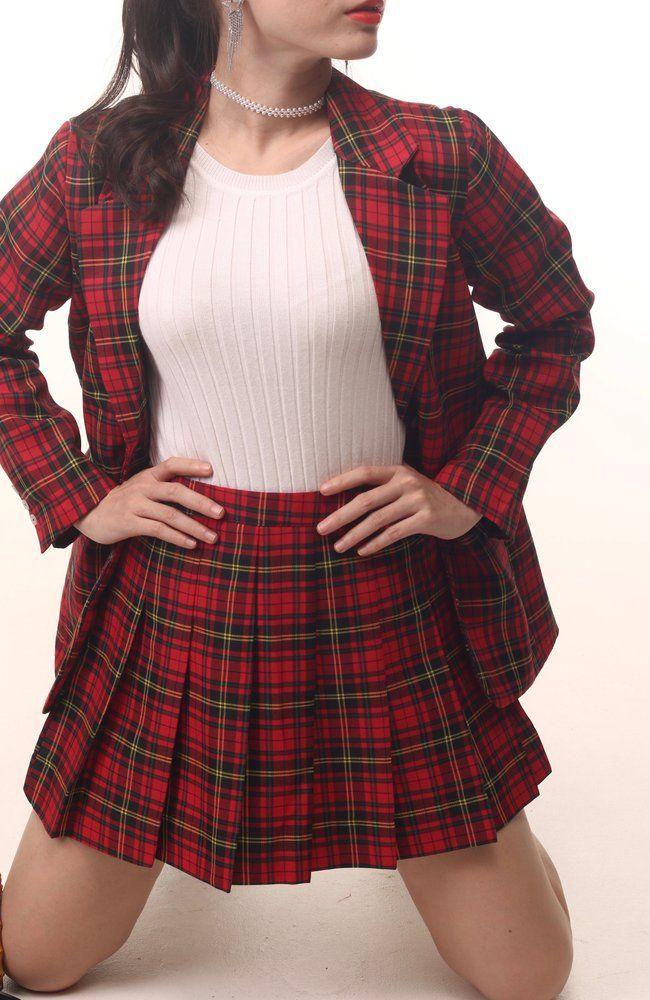 5486910cedd0 Cher Long Blazer Set in Red Tartan in 2019 | red | Long blazer ...