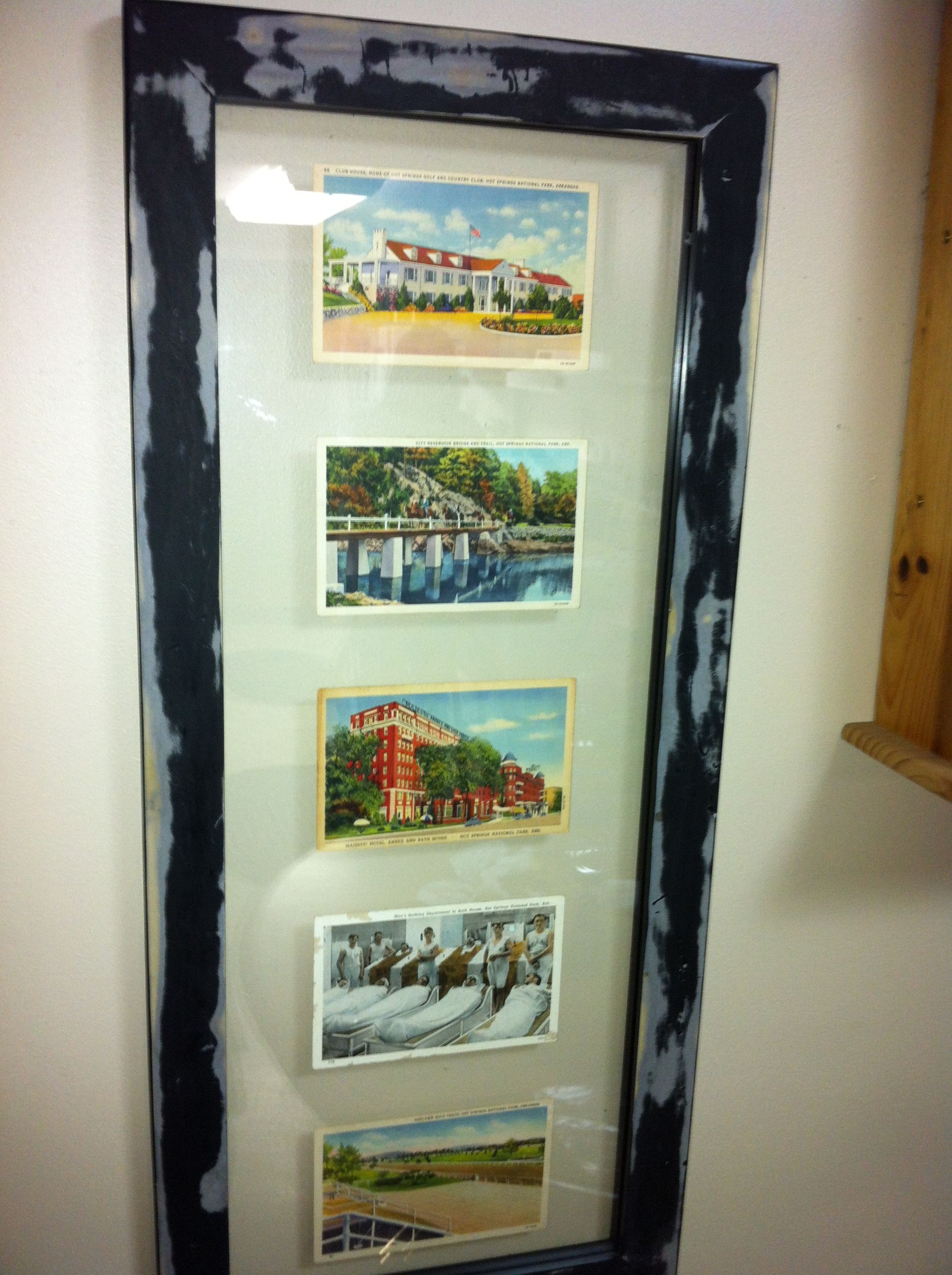 1930 40s hot springs arkansas postcards floated in a double glass frame found - Double Glass Frame