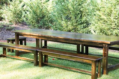 An extra-long outdoor wood table is something I've desired ...