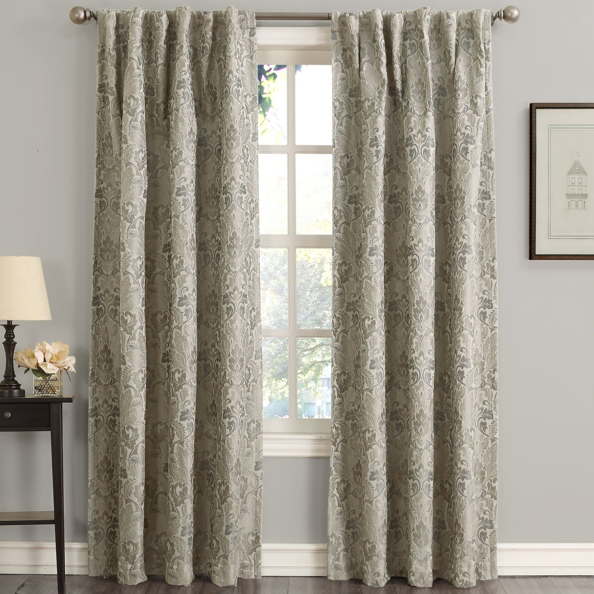 Mayfield Woven Floral Energy Efficient Damask Blackout Rod Pocket Single