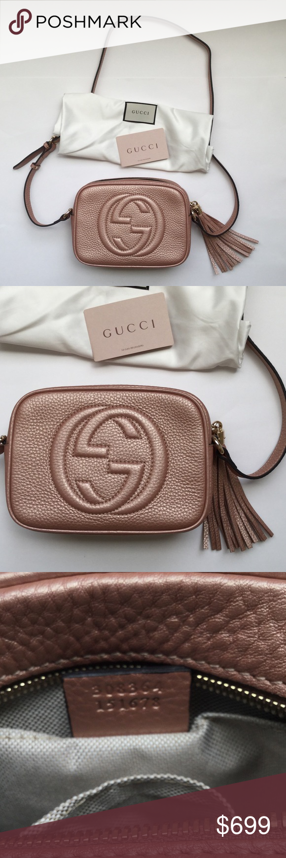 52238cd765a Authentic Gucci Soho Disco Bag Authentic Gucci Soho Disco Bag. Rare Pink  Metallic Color.
