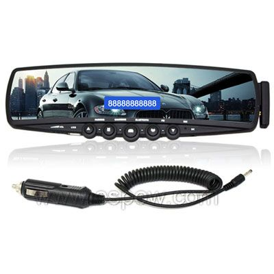 Car Rearview Mirror W Handsfree Bluetooth Car Kit Supporting Fm