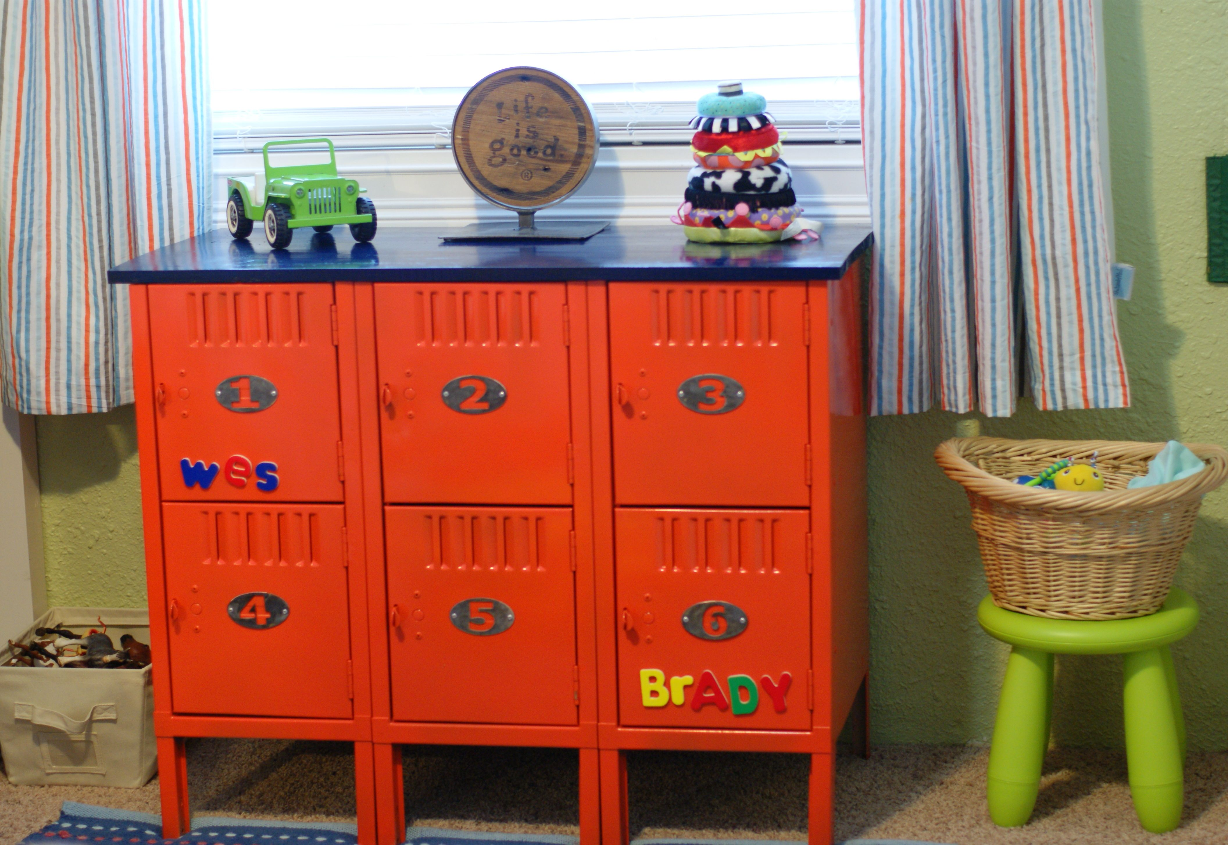 "Darling! ""Upcycled Lockers for Kids Room. Cut down, welded, sanded ..."