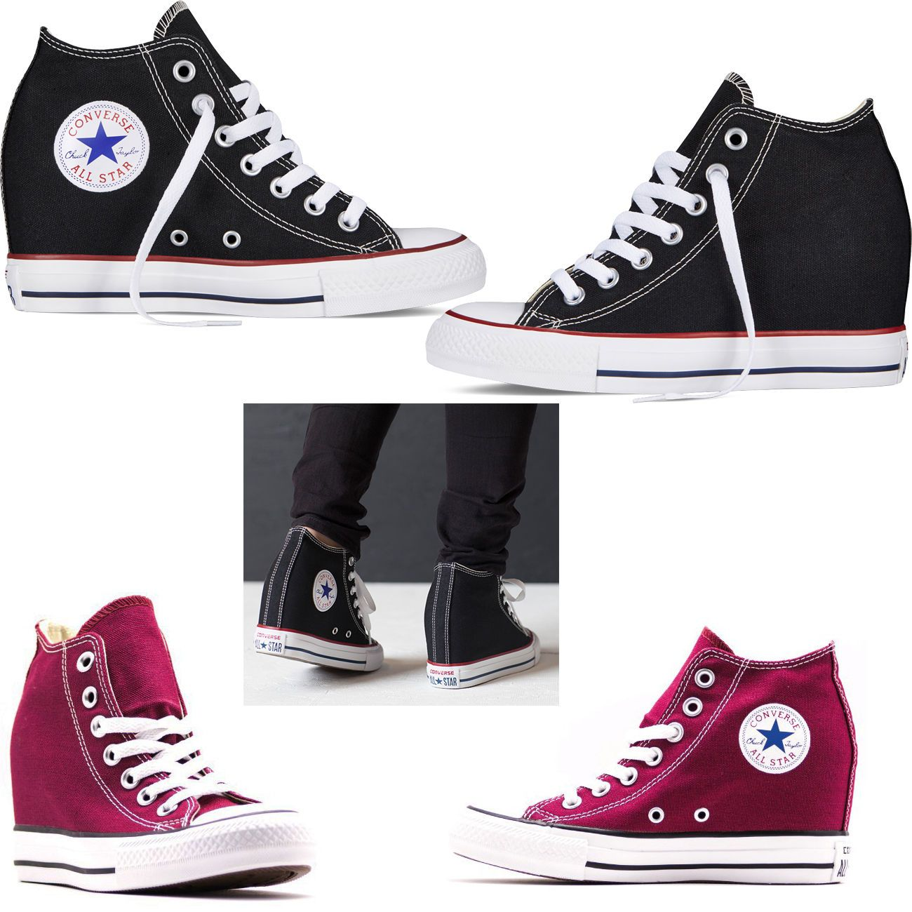 converse all star con zeppa donna