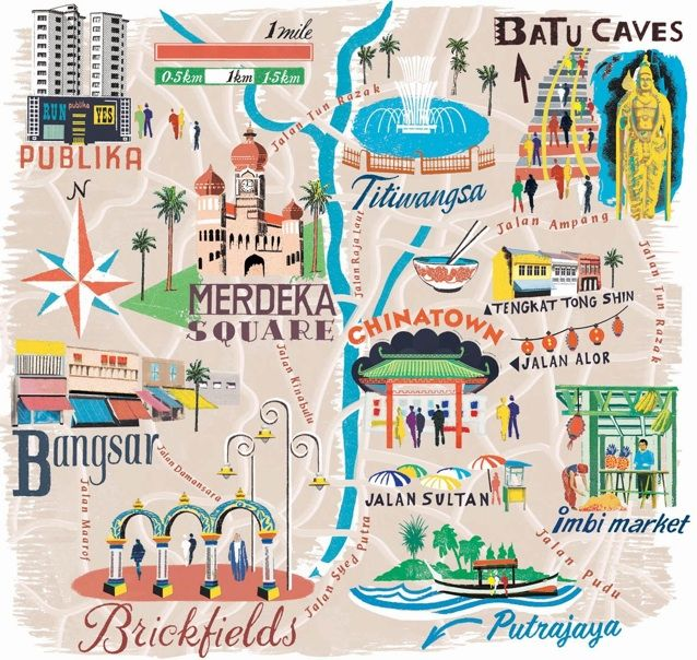 Anna Simmons Kuala Lumpur Map For National Geographic Traveller - kuala lumpur map