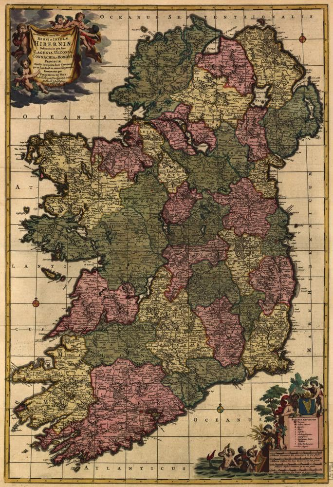 Vintage 1700 Map of Ireland Postcard  Ireland Card stock and Vintage