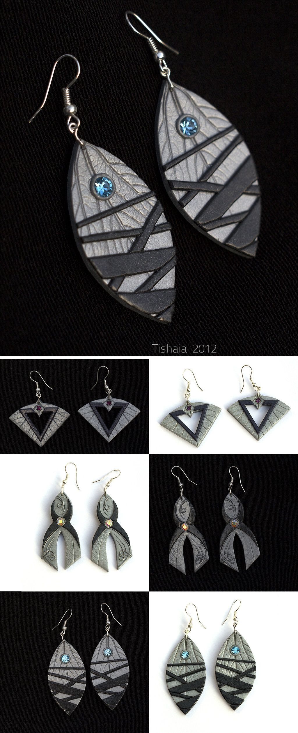 Polymer Clay Earrings -- I don't particularly care for the shapes of the lower pairs. And on the large/top pair, I don't care for the stripes. But I do like the effect of using leaf veining on a color other than green.