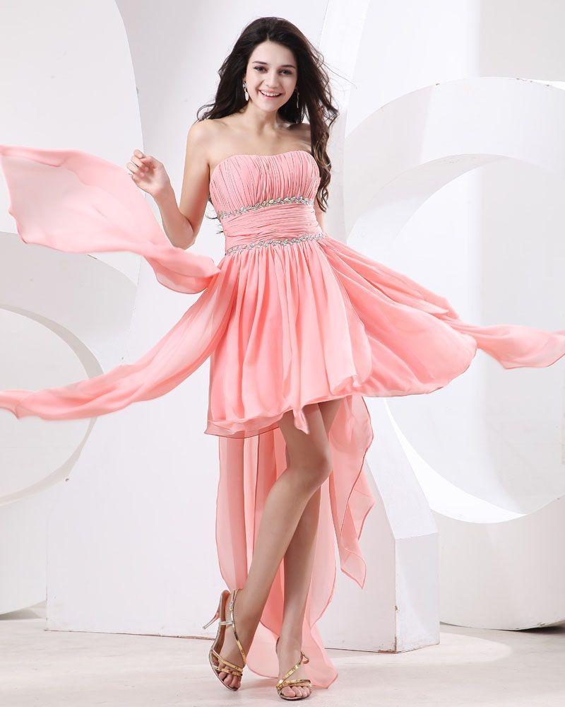 Osell wholesale dropship chiffon ruffle layered pink prom dress